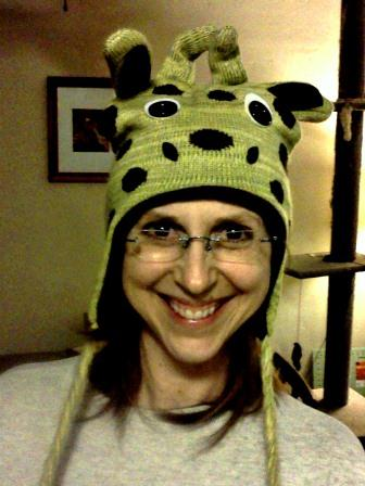 Tammy wearing a  Giraffe Hat