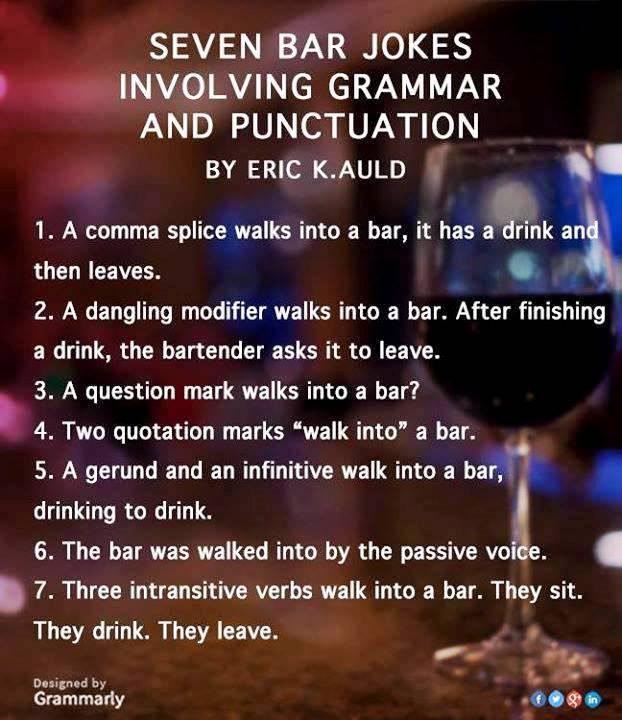 Bar grammar jokes